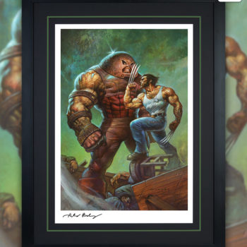 Juggernaut vs. Wolverine Fine Art Print by Alex Horley after Adam Kubert Black Framed Edition