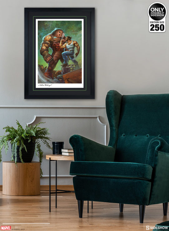 Juggernaut vs. Wolverine Fine Art Print by Alex Horley after Adam Kubert Black Framed Edition Environment Shot