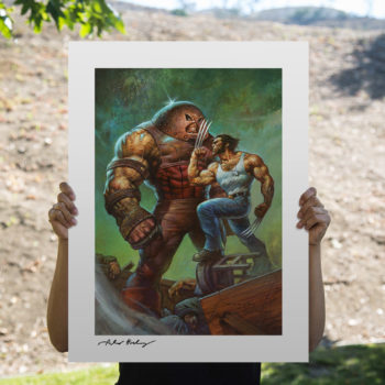Juggernaut vs. Wolverine Fine Art Print by Alex Horley after Adam Kubert Unframed Edition Open Lighting Shot