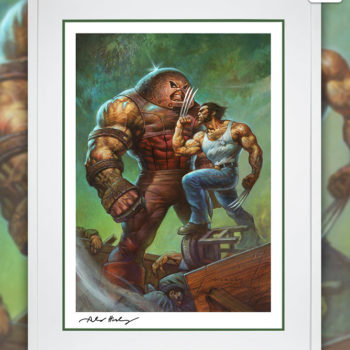 Juggernaut vs. Wolverine Fine Art Print by Alex Horley after Adam Kubert White Framed Edition