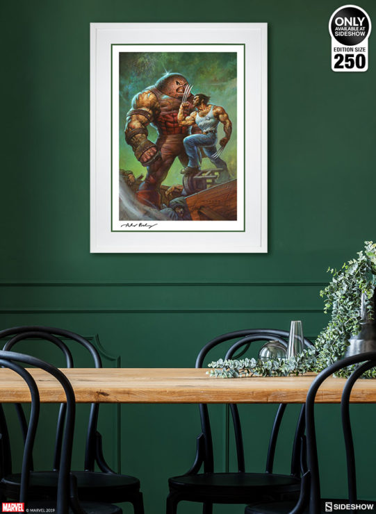 Juggernaut vs. Wolverine Fine Art Print by Alex Horley after Adam Kubert White Framed Edition Environment Shot