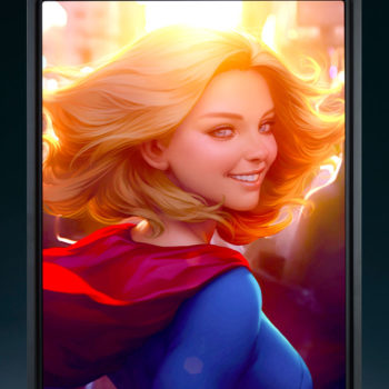 Supergirl #16 Aluminum HD Metal Print by Stanley 'Artgerm' Lau with Black Frame