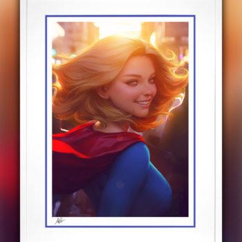 Supergirl #16 Fine Art Print by Stanley 'Artgerm' Lau White Framed Edition
