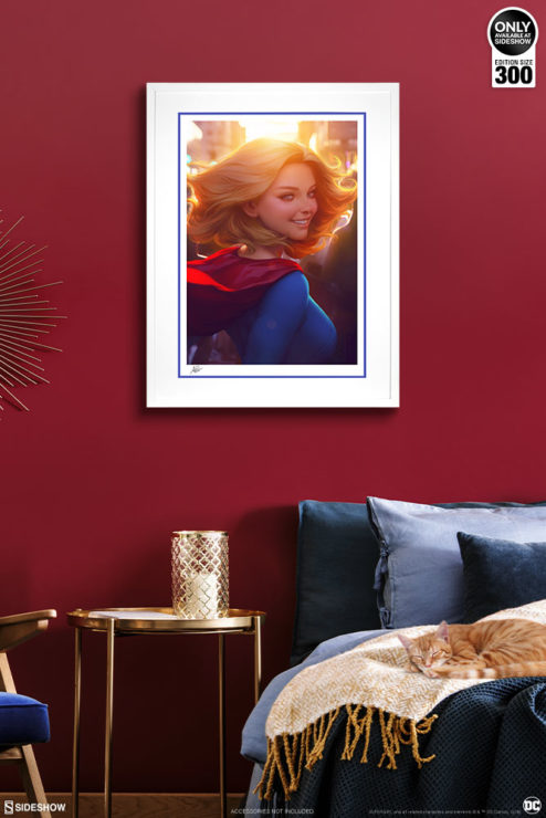 Supergirl #16 Fine Art Print by Stanley 'Artgerm' Lau White Framed Edition on Red Wall Environment