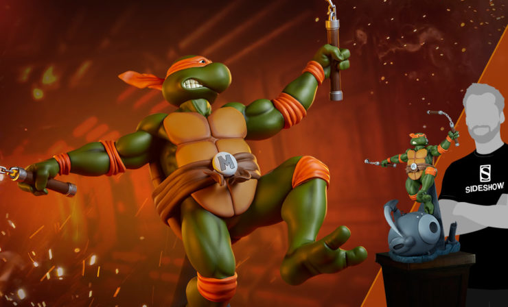 The PCS Collectibles Michelangelo Statue Brings the Party to Your TMNT Collection