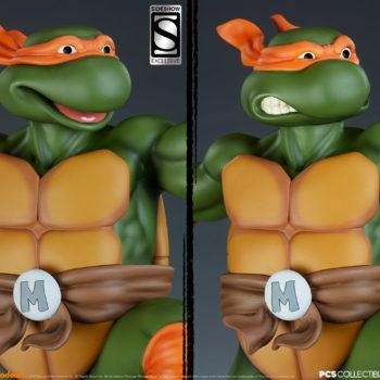 Michelangelo 1:4 Scale Statue Exclusive and Collector Edition Comparison- Smile Portrait and Serious Portrait