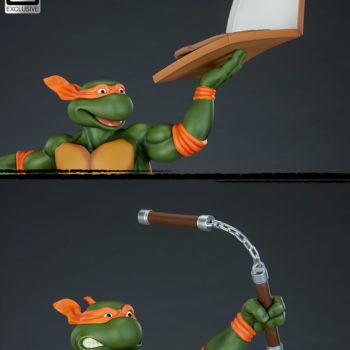 Michelangelo 1:4 Scale Statue Pizza Hand and Nunchaku Comparison
