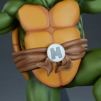 """Michelangelo 1:4 Scale Statue Shell Front View with """"M"""" Belt Buckle"""