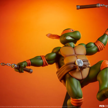 Michelangelo 1:4 Scale Statue with Dramatic Orange Background