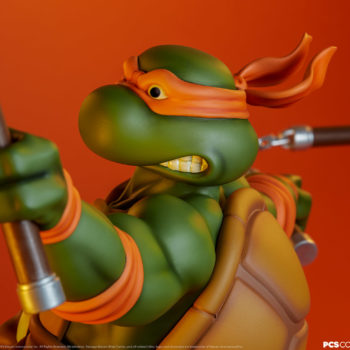 Michelangelo 1:4 Scale Statue Over the Shoulder View with Dramatic Orange Background