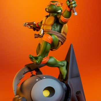 Michelangelo 1:4 Scale Statue Full Figure View with Orange Background 3