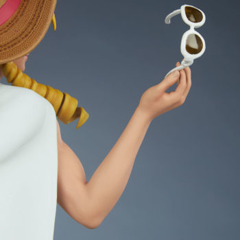 Street Fighter Karin: Season Pass 1:4 Scale Statue Back View of Right Hand holding Sunglasses