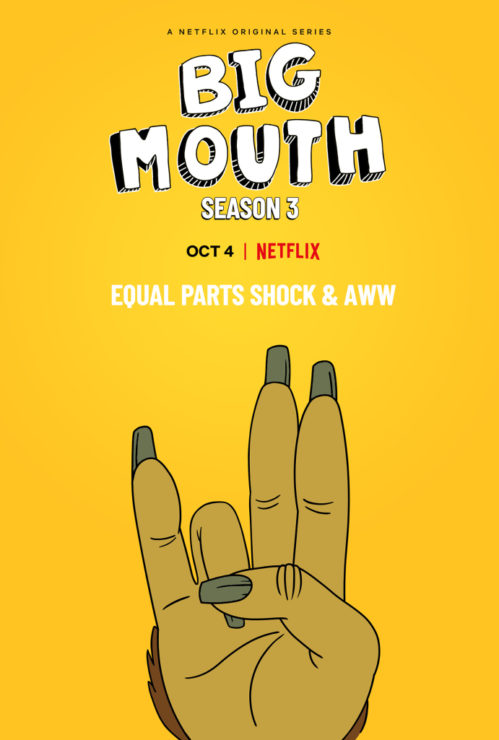 "Big Mouth Season 3 release date poster that says ""Shock and Awe"""