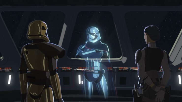 Captain Phasma in Star Wars Resistance Season 2 Trailer talking to her two subordinates