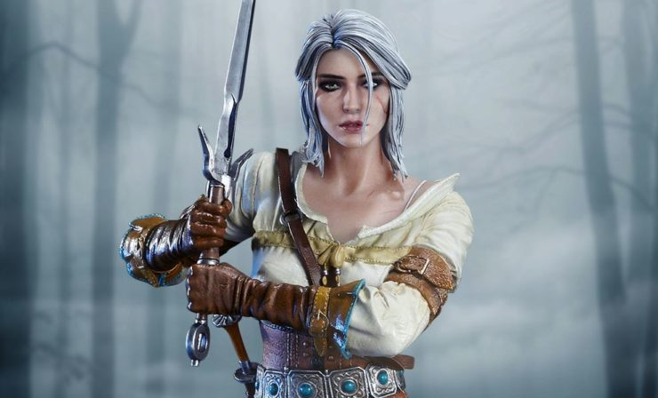 Ciri of Cintra Statue with Ciri brandishing her sword with The White Frost behind her