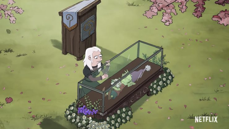 Disenchantment Part 2 Teaser showing Princess Bean over Elfo's body