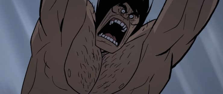 Genndy Tartakovsky's Primal man screaming and lunging forward