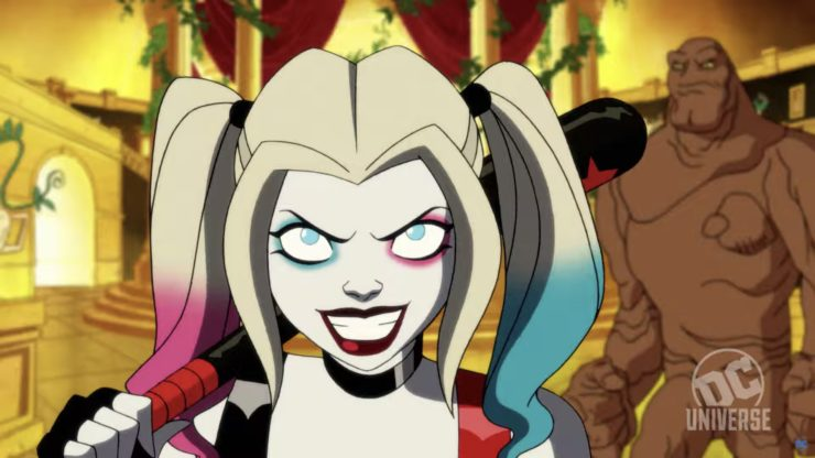 Harley Quinn smiling in the Harley Quinn Behind the Scenes video