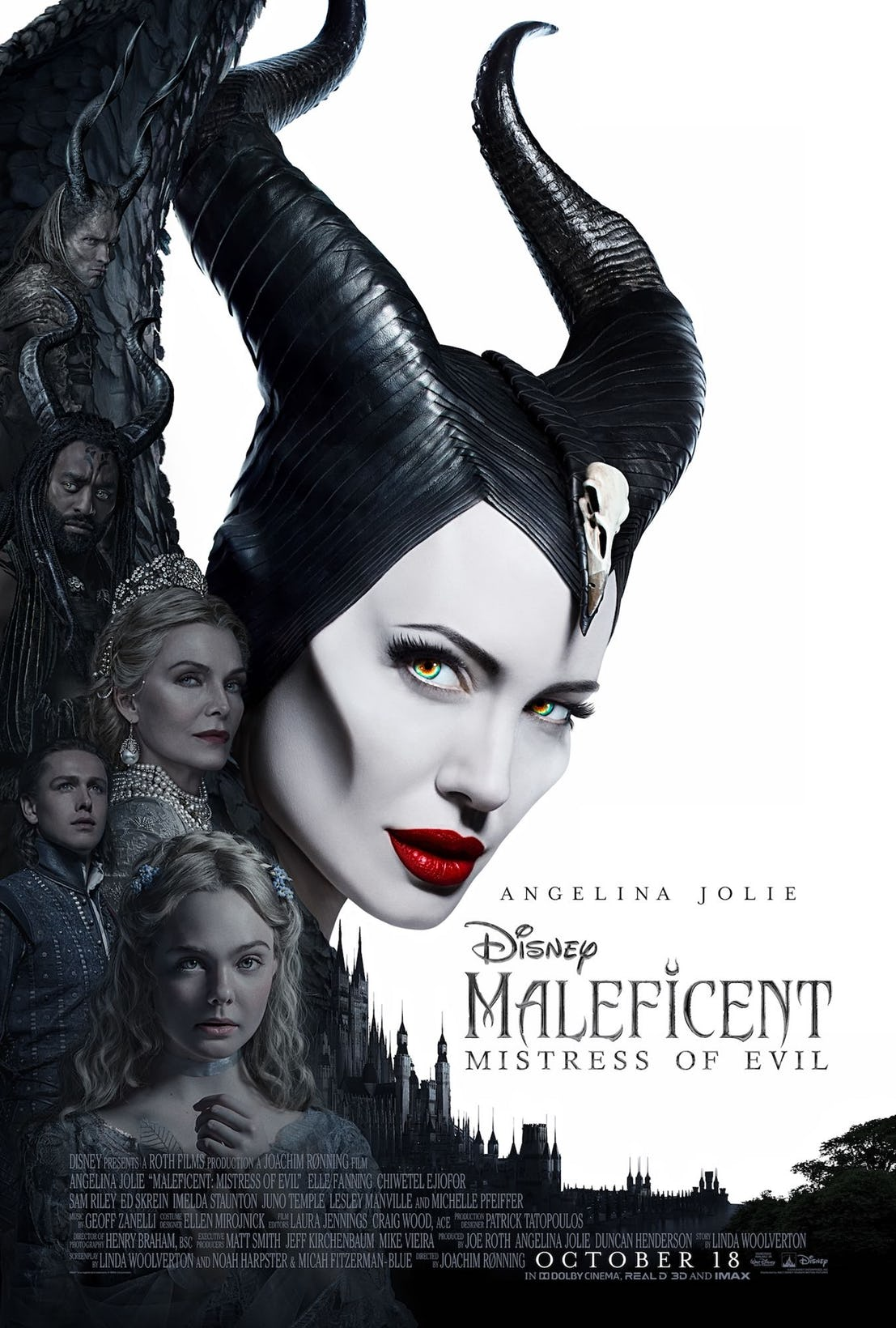 Maleficent Mistress of Evil Poster with the cast of the movie showing