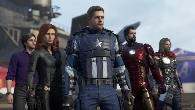 Marvels Avengers Video Game Official Gameplay Footage showing (from left to right) Bruce Banner, Natasha Romanov, Steve Rogers, Tony Stark, and Thor Odinson