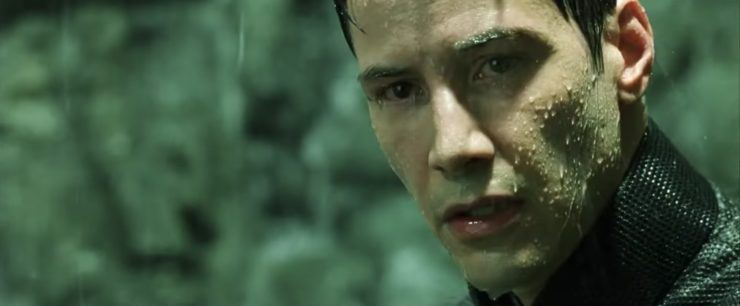 Neo in Matrix Reloaded in the rain