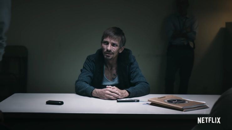 Skinny Pete in an interrogation room