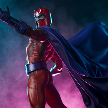 magneto premium format figure raising his arm with his cape flowing behind him