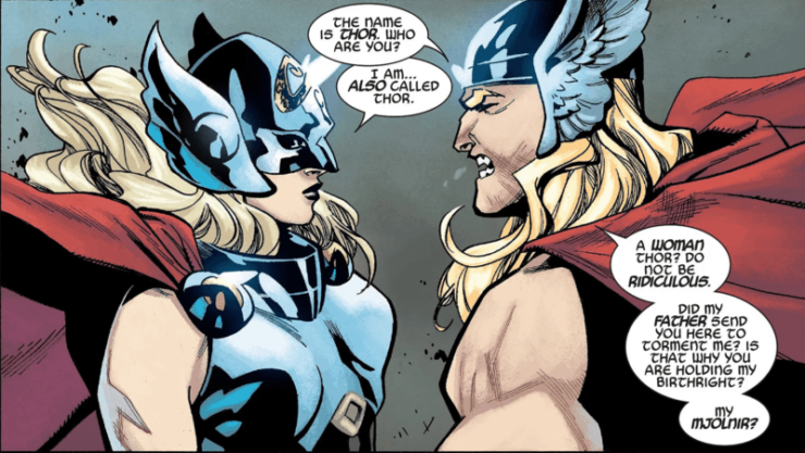 Jane Foster Thor and Odinson face off
