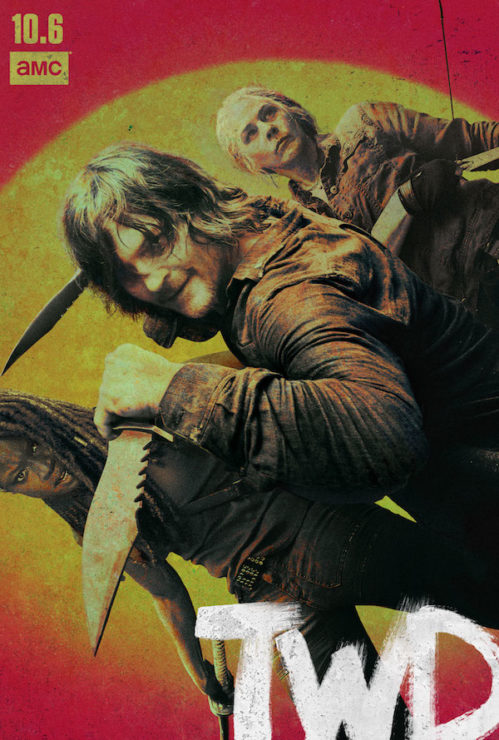 walking dead season 10 poster with carol, daryl, and michonne