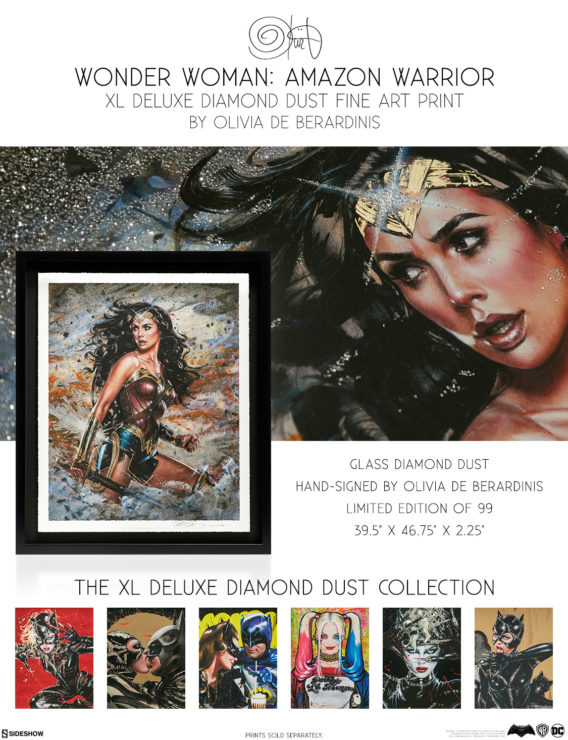 Wonder Woman: Amazon Warrior XL Deluxe Diamond Dust Fine Art Print