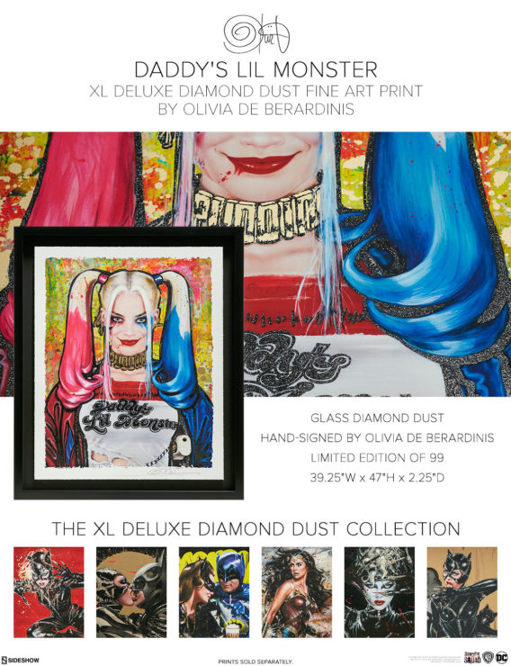 Harley Quinn: Daddy's Lil Monster XL Deluxe Diamond Dust Fine Art Print by Olivia De Berardinis