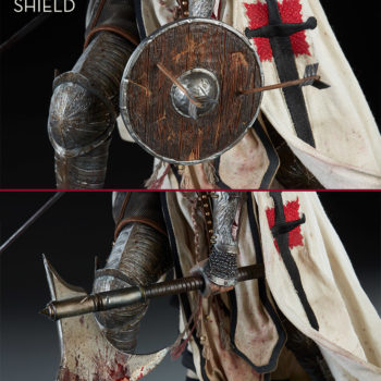 Shard: Faith Bearer's Fury Premium Format™ Figure showing shield and sword in left hand comparison