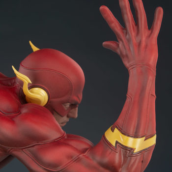 The Flash Premium Format™ Figure Portrait and Right Arm View from Back of Figure