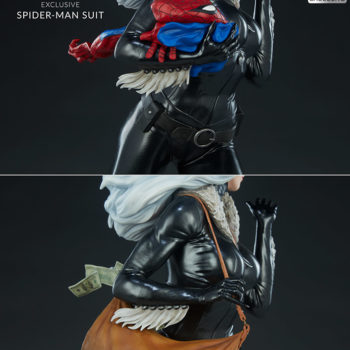 Black Cat Statue- Mark Brooks Artist Series Exclusive Comparison between Spider-Man Suit and Bag of Jewels