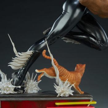 Black Cat Statue- Mark Brooks Artist Series Back of Base with Spider Webs