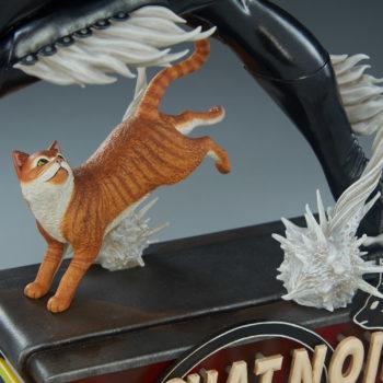 Black Cat Statue- Mark Brooks Artist Series Orange Cat on Base