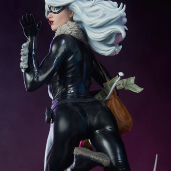 Black Cat Statue- Mark Brooks Artist Series Side View of Figure with Purple Background