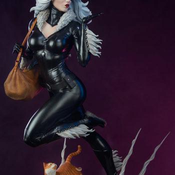 Black Cat Statue- Mark Brooks Artist Series with Purple Background