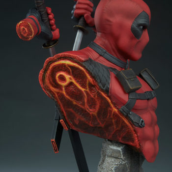 Deadpool Bust Closeup on Severed Right Side of Body