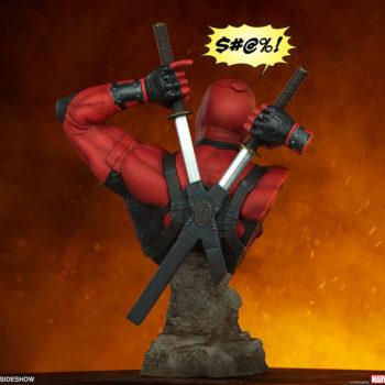 Deadpool Bust Back of Figure with Profanity Symbols Speech Bubble