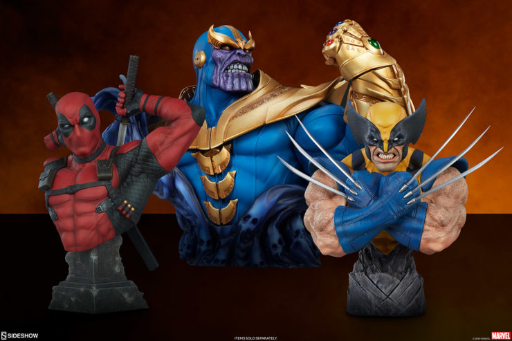Deadpool Bust with Thanos and Wolverine Busts, Sold Separately
