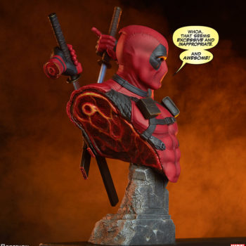 """Deadpool Bust Dramatic Shot with """"Whoa, that seems excessive and inappropriate, and AWESOME!"""" Speech Bubble"""