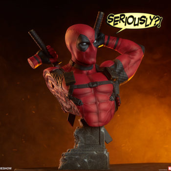 """Deadpool Bust with """"Seriously?"""" Speech Bubble"""