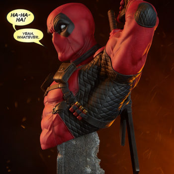 "Deadpool Bust with ""Ha Ha Ha! Yeah, whatever."" Speech Bubbles"