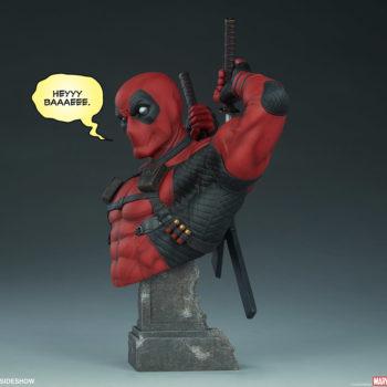"Deadpool Bust with ""Heyyy, Baaaeee."" Speech Bubble"