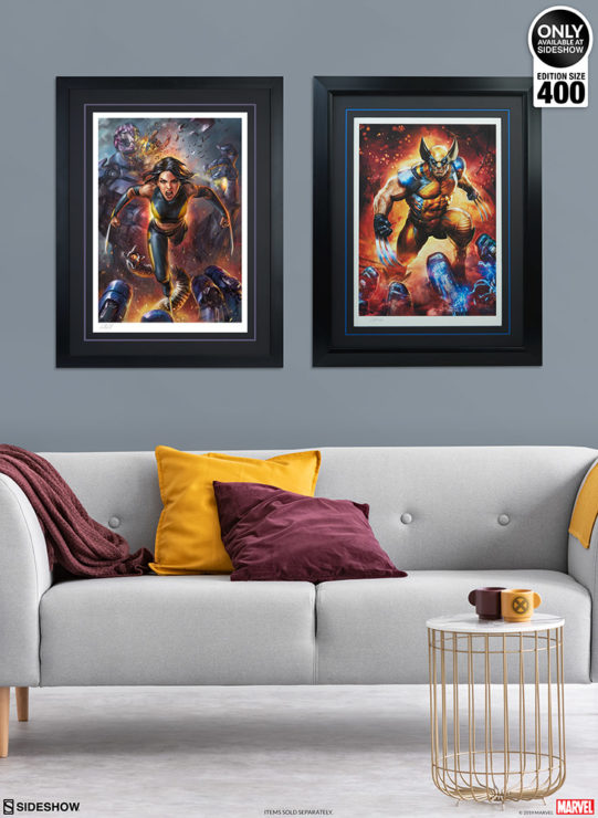 X-23 Fine Art Print by Ian MacDonald Black Framed Edition alongside Wolverine Premium Art Print