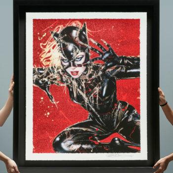 Wildcat XL Deluxe Diamond Dust Fine Art Print Black Framed Held by Hands