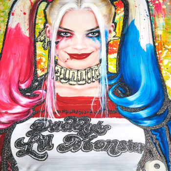 Harley Quinn: Daddy's Lil Monster XL Deluxe Diamond Dust Fine Art Print Margot Robbie Portrait with Glittering Effect