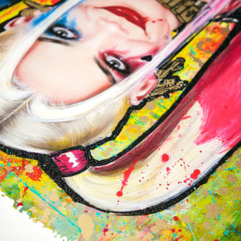 Harley Quinn: Daddy's Lil Monster XL Deluxe Diamond Dust Fine Art Print Upside Down View of