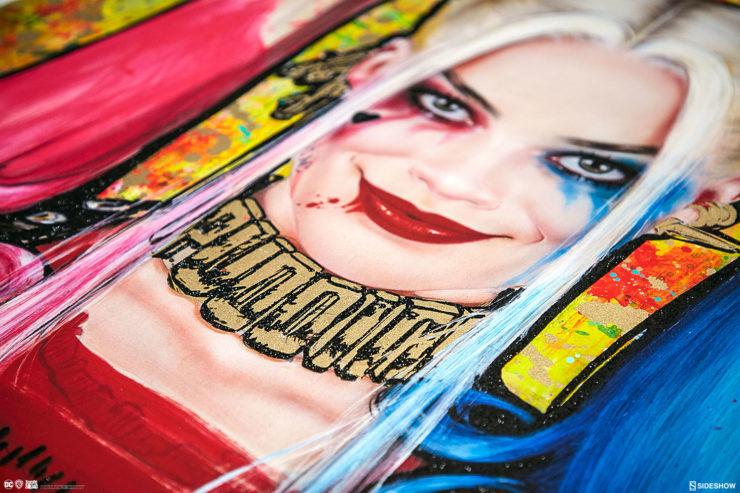 Harley Quinn: Daddy's Lil Monster XL Deluxe Diamond Dust Fine Art Print Margot Robbie Portrait Close Up